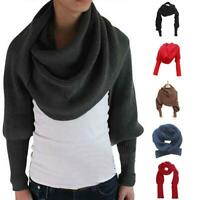 Novelty Unisex Women Knitted Scarf With Sleeves Long For Ladies Shawls Wrap T4L8