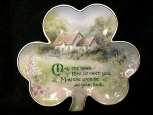 LUCKY IRISH BLESSINGS PLATE SHAMROCK MAY THE ROAD RISE UP LIMITED EDITION NEW