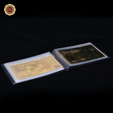 New listing Wr Complete 9pcs Euro Valuable Banknotes Set Gold Note Colored Edition /w Album