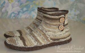 handmade men's/women's crochet slippers, wool winter boots, house shoes