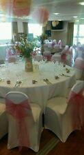 100 CHAIR COVERS, 100 SASHES, 10 TABLE RUNNERS, DECOR PARTY EVENT HIRE ONLY !!!