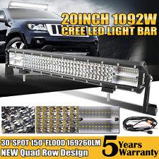 Quad-Row 1092W 20Inch LED Work Light Bar Flood Spot SUV 4WD ATV Offroad Fog Lamp