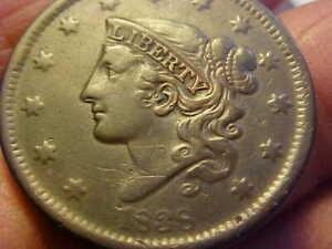 1838  CORONET MATRON  HEAD COPPER LARGE CENT  VERY FINE - XF  RARE COIN