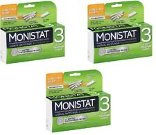 3 MONISTAT Cure Itch Relief Less Mess Ovules 3 Day Treatment Cream EXP 02-2020
