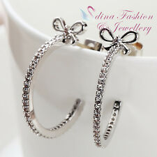 18K White Gold Plated Simulated Diamond Delicate Bow-knot Half Hoop Earrings