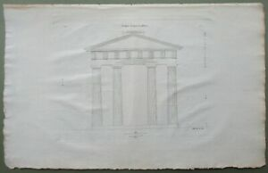 Rare Doric Portico Athens Front Elevation Greek Architecture Antique Print 1808