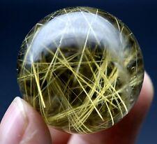 32mm 47.5g Rare Natural Clear Hair Rutilated Quartz Crystal Sphere Ball Healing