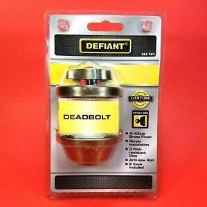 NEW & SEALED - Defiant Deadbolt - Antique Brass Finish - Keyed 1 Side - 154 741