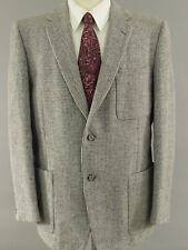 Saville Row Harris Tweed Wool Men 44S Grey Herringbone Blazer Sport Coat Jacket