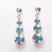 Damen Ohrringe 925 Sterling Silber Swarovski Kristalle Hänger 24 mm Weiß Gelb