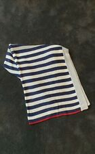 PUREBABY NAVY, IVORY AND RED STRIPE KNIT BABY COT BLANKET
