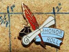 """Honor Roll Pen & Ink Paper Scroll Gold Tone 1"""" Lapel Pin"""