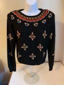 Diversity Petite Black Vintage Sweater Silk Wool Bling M  EUC  C36