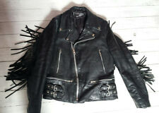 "Black Real Leather Jacket Biker Rocker Tassel Small 36"" Mens Gothic Emo Punk Cyb"