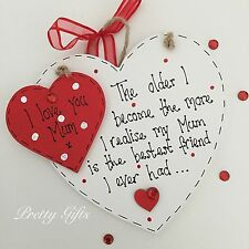 Birthday Christmas Mother's Day Mum Gift Handmade Best Friend Heart Plaque