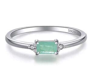 925 Sterling silver green Paraiba tourmaline ring Art Deco genuine stone size N