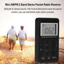 Portatile AM/FM Stereo Radio LCD Digitale CON Auricolare Ricaricabile Batteria