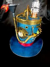STEAMPUNK Mini top hat / Metallic Blue / Working Light / Gears / Cables / Pipes