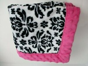 Okie Dokie JC Penney White And Black Damask Print With Pink Trim Baby Blanket