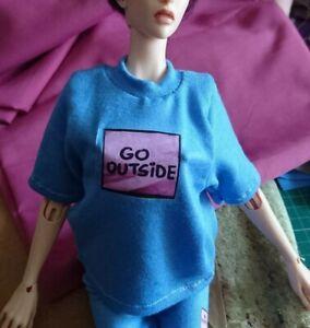 Fits 1/4 bjd. Will fit phicen 1/6 blue 'Go Outside'  t-shirt. 🚻 Handmade in UK.