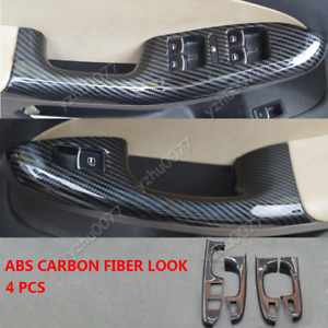 2011-2014 For VW Jetta Carbon Fiber Look Window Switch Lock Cover Trim 4pcs