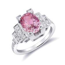 Padparadscha Sapphire Ring 3.22 carats Diamonds 0.56ct Platinum GRS Certified
