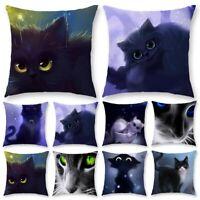 Süße Schwarze Katze Kissenbezug Polyester Kissenbezug Sofa Throw Dekorationen
