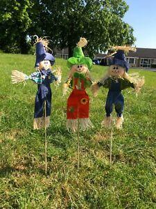 "3 Decorative Rustic Scarecrows 24"" Attractive Set Deter Birds Pests Garden Lawn"