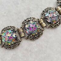 Vintage 1950's Judy Lee Art Deco Iridescent Carved Floral Cabochon Bracelet