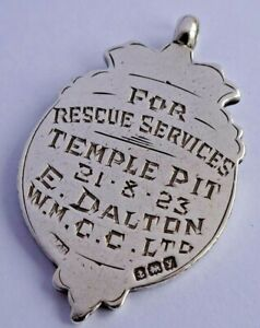 Antique solid silver coal mining pocket watch albert chain fob,Temple pit 1923