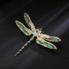 31818fd02e04 Broche Pin Dorado Insecto Libélula Esmalte Verde Zirconita Chapado de Oro