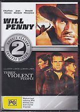 WILL PENNY + THREE VIOLENT PEOPLE - BRAND NEW & SEALED R4 DVD (CHARLTON HESTON)