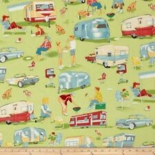 By 1/2 Yard Michael Miller Fabric Trailer Travel Multi ~ Camper RV Camping Retro
