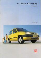 Citroen Berlingo Multispace 1999-2000 UK Market Sales Brochure 1.4 1.8 1.9D