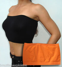 Seamless Strapless Bandeau ORANGE Tube Top Bra Solid no Pads FREE SHIPPING to US