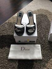 EUC Christian Dior Polka Dot Slides Shoes Heel Black Charms Gorgeous!!