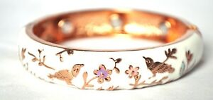 NEW! 8 IN COPPER WHITE W/GOLD BIRDS HEALING MAGNETIC HINGED BANGLE / CUFF