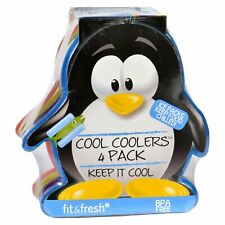 New listing Fit and Fresh Ice Packs - Cool Coolers - Multicolored Penguin - 4 Count