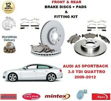 FOR AUDI A5 SPORTBACK 3.0 TDI 2009-> FRONT + REAR BRAKE DISCS PADS + FITTING KIT