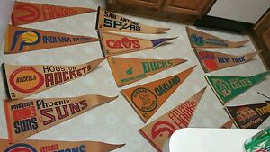 Vintage NBA PENNANTS HUGE LOTT 21 RARE LOOK to many to list my lost your gain
