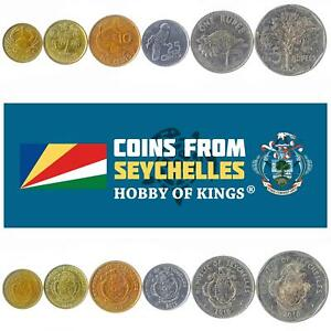 SET OF 6 COINS FROM SEYCHELLES. 1, 5, 10, 25 CENTS, 1, 5 RUPEES. 1982-2014