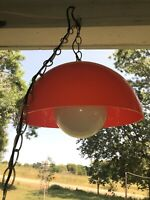 Vtg 1970's Swag Hanging Lamp bright orange round Plastic & Glass Shade Working