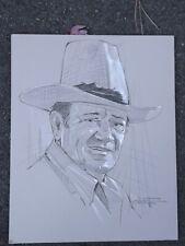 Vintage original Chuck Oberstein pencil & gouache drawing of John Wayne