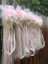 ( 1 )Tulle Pew Bows,Pink Pew Bows, Shabby Pew Bows, Wedding Aisle Bows,Reception