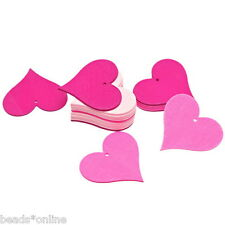 BE 40PCs Wooden Pendants Heart Shaped Charm Pink Fit Necklace/DIY 40mm x43.6mm