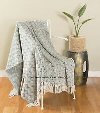 Primitive Farmhouse Decor Rustic Boho Throw 100% Soft Cotton Blanket for Sofa