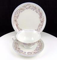 "LETTIN GERMANY BLUE FLORAL AND PAISLEY 2 1/4"" FOOTED CUP SAUCER & LUNCHEON TRIO"