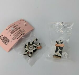 1:12 Dollhouse Vtg Wood Country Cow Wall Clock Paper Towel Holder Miniature