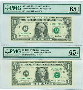 2001 $1 Federal Reserve Star Notes San Francisco (2) Consecutive 65 EPQ PMG