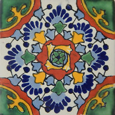 "Handmade Mexican Tile Sample  Talavera Clay 4"" x 4"" Tile C177"